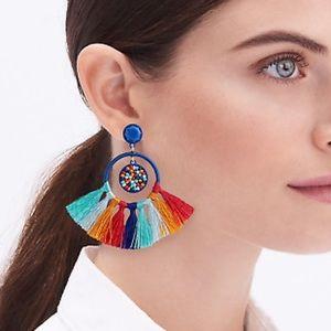 J. Crew Multicolor Tassel Fan Earring